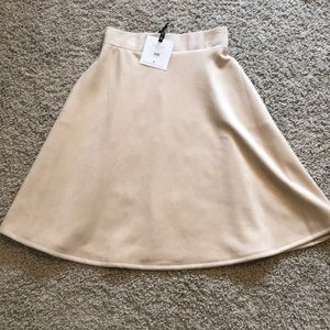 Cream Faux Suede Skirt from Agnes & Dora, Small